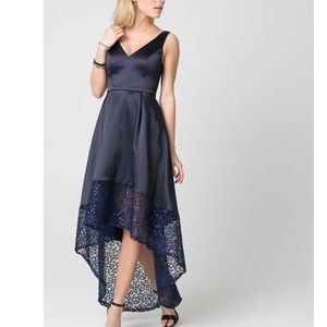 Le Chateau High Low Fit and Flare Navy Blue Dress
